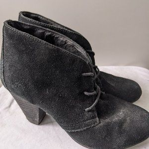 Aldo Suede Lace-Up Heeled Booties Black Size 6